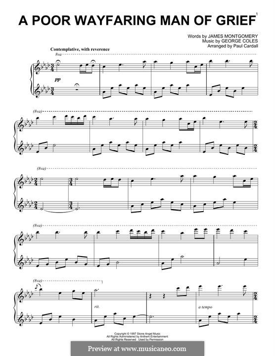 A Poor Wayfaring Man of Grief: For piano by George Coles