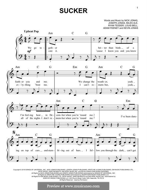 Sucker (Jonas Brothers): For piano by Joseph Jonas, Kevin Jonas Sr., Nicholas Jonas, Ryan B Tedder, Louis Bell, Frank Dukes