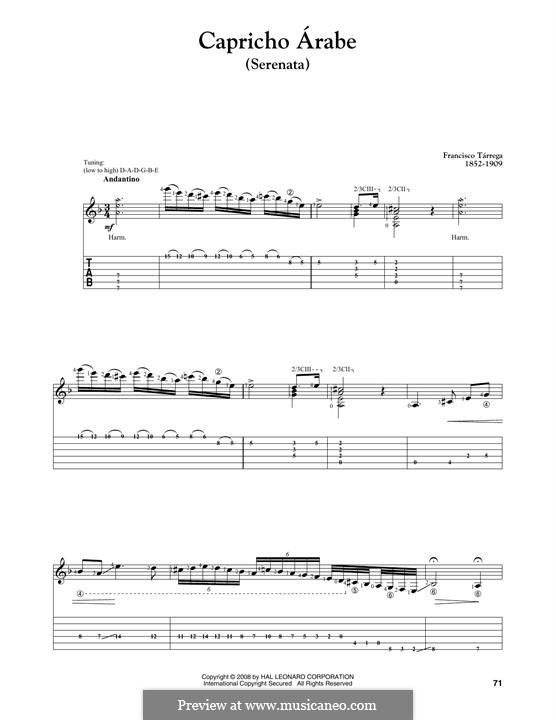 Arab Capriccio: For guitar by Francisco Tárrega