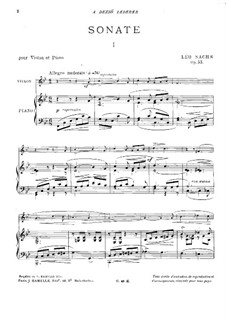 Sonata for Violin and Piano, Op.33: Score by Léo Sachs