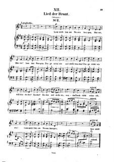 No.12 Lied der Braut (Bride's Song): Piano-vocal score (German text) by Robert Schumann