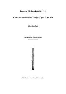 Concerto No.12 in C Major: For oboe and string orchestra – solo part by Tomaso Albinoni