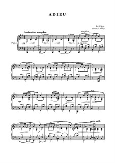 Adieu: For piano solo by Edward Elgar