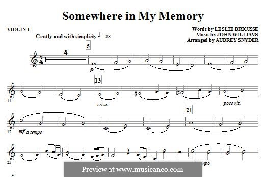 Somewhere in My Memory: Violin 1 part by John Williams