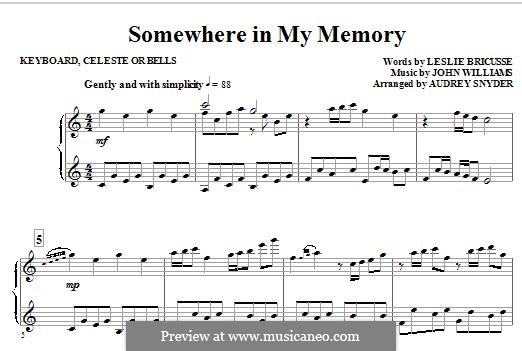 Somewhere in My Memory: Keyboard part by John Williams