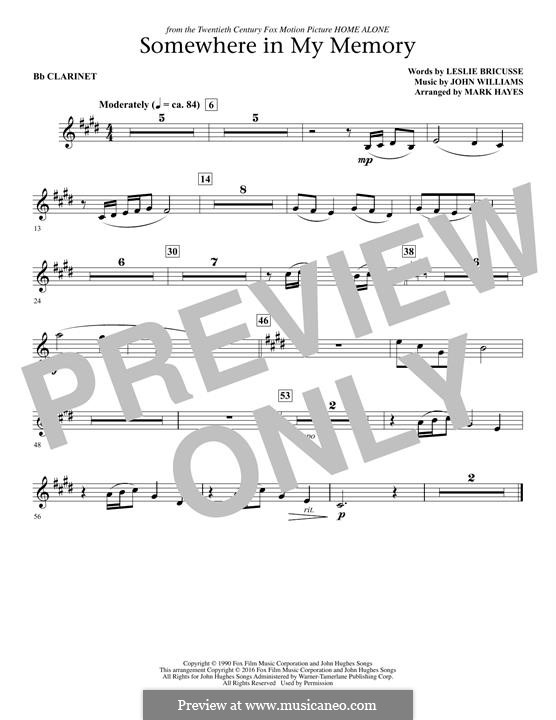 Somewhere in My Memory: Bb Clarinet part by John Williams