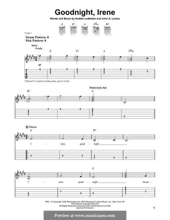 Goodnight, Irene: For guitar by Huddie Ledbetter, John A. Lomax