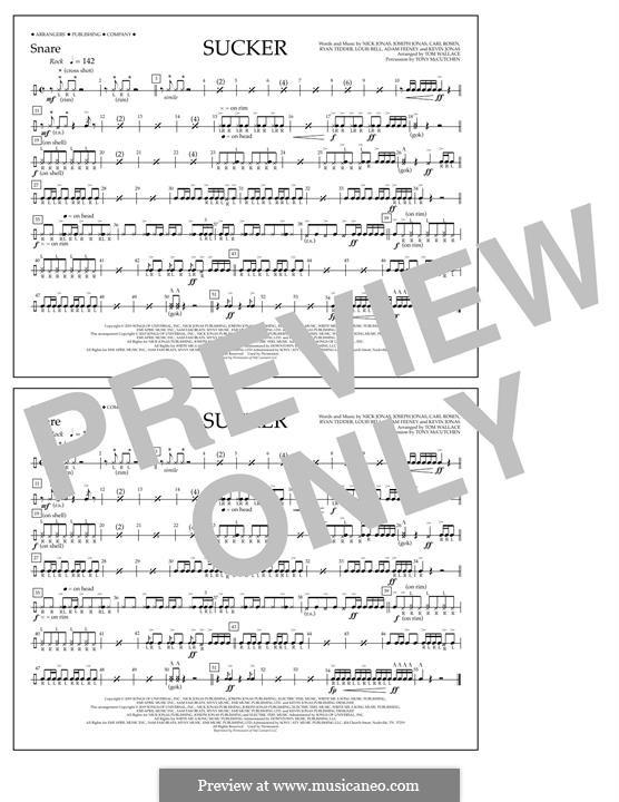 Sucker (Jonas Brothers): Snare part by Joseph Jonas, Kevin Jonas Sr., Nicholas Jonas, Ryan B Tedder, Louis Bell, Frank Dukes