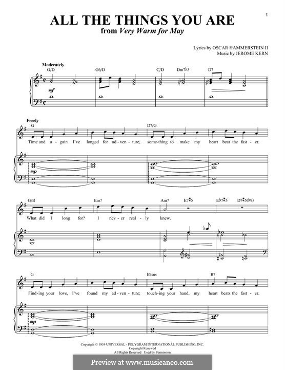 Piano-vocal version: For voice and piano by Jerome Kern