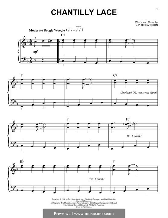 Chantilly Lace (The Big Bopper): For piano by J.P. Richardson