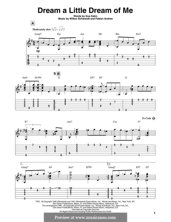 Dream a Little Dream of Me (The Mamas & The Papas): For guitar with tab by Fabian Andree, Wilbur Schwandt
