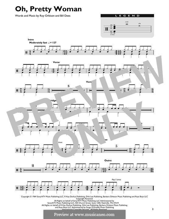 Oh, Pretty Woman: Drum set by Bill Dees, Roy Orbison