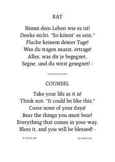 Rat - Counsel: For female choir SSAA by Hans Bakker