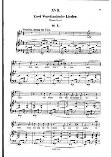 No.17 Venetian Song No.1: Piano-vocal score (German text) by Robert Schumann