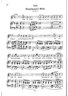 No.19 Hauptmann's Weib (La femme du chef): Piano-vocal score (German text) by Robert Schumann
