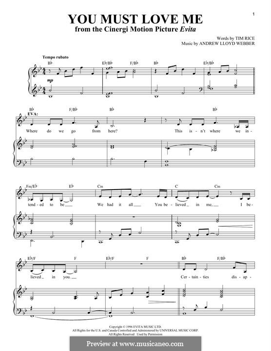 You Must Love Me: For voice and piano by Andrew Lloyd Webber