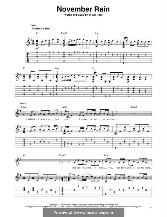 November Rain (Guns N' Roses): For guitar by W. Axl Rose