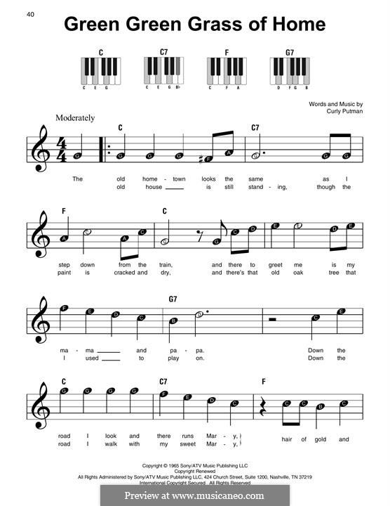 Green Green Grass of Home: For piano (Elvis Presley) by Curly Putman