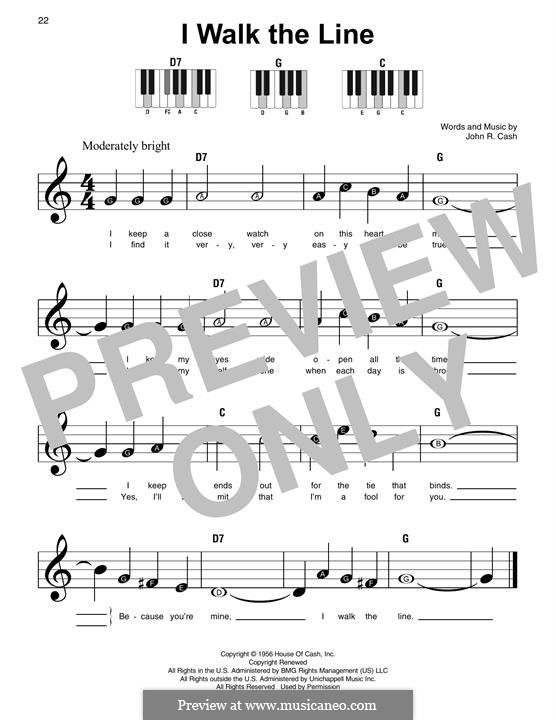 I Walk the Line: For piano by Johnny Cash