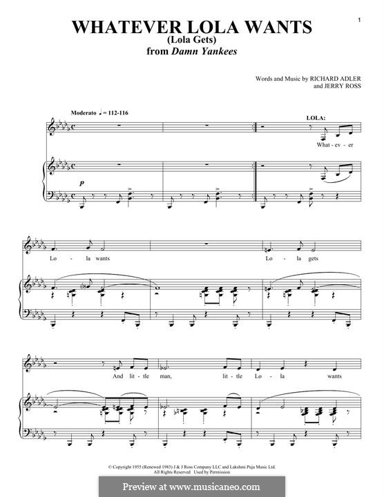 Whatever Lola Wants (Lola Gets): For voice and piano by Jerry Ross, Richard Adler