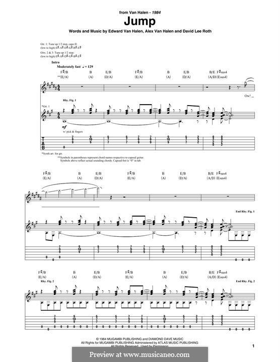 Jump (Van Halen): For guitar with tab by Alex Van Halen, David Lee Roth, Edward Van Halen, Michael Anthony
