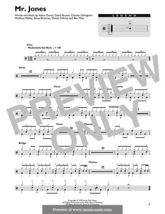 Mr. Jones (Counting Crows): Drum set by Adam F. Duritz, David Bryson