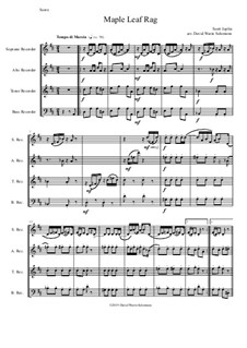 Maple Leaf Rag: For recorder quartet by Scott Joplin