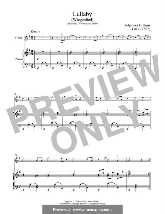 No.4 Cradle Song (Printable scores): For violin and piano by Johannes Brahms