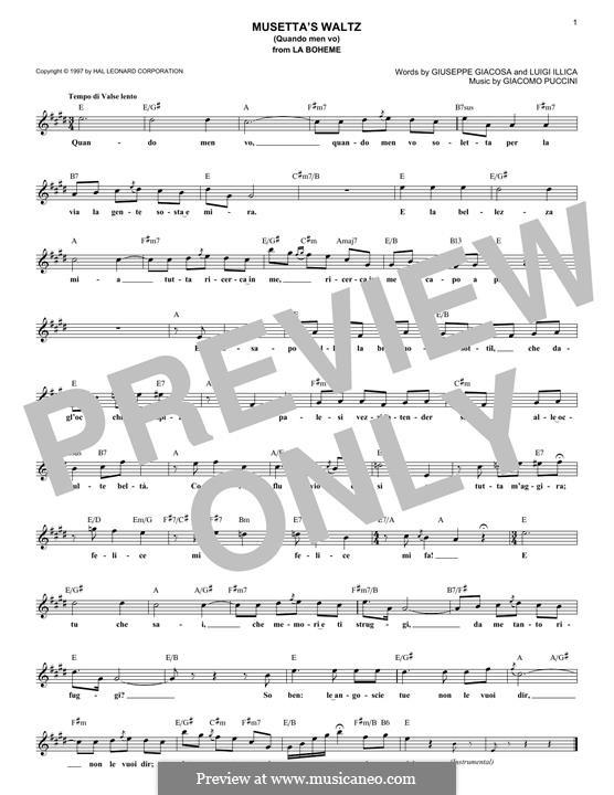 Quando men vo (Musetta's Waltz): Melody line by Giacomo Puccini