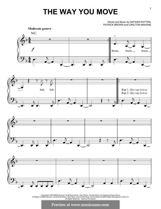 The Way You Move (OutKast): For piano by Antwan Patton, Carlton Mahone, Patrick Brown