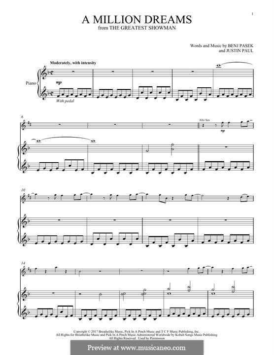 A Million Dreams (from The Greatest Showman): For alto saxophone and piano by Justin Paul, Benj Pasek