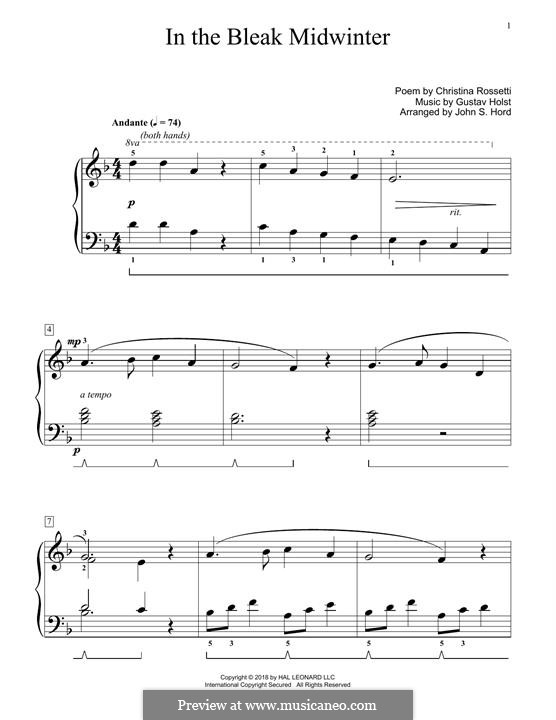 In the Bleak Midwinter: For piano by Gustav Holst