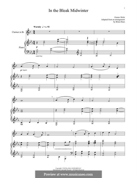 In the Bleak Midwinter: For clarinet and piano by Gustav Holst