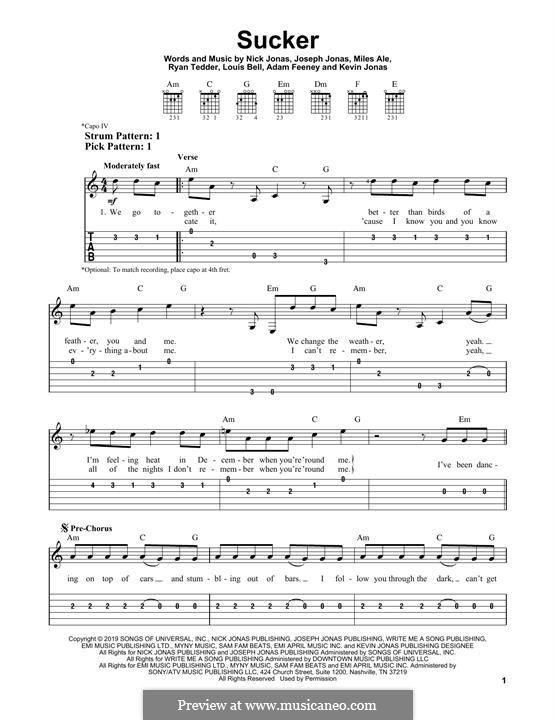 Sucker (Jonas Brothers): For guitar with tab by Joseph Jonas, Kevin Jonas Sr., Nicholas Jonas, Ryan B Tedder, Louis Bell, Frank Dukes