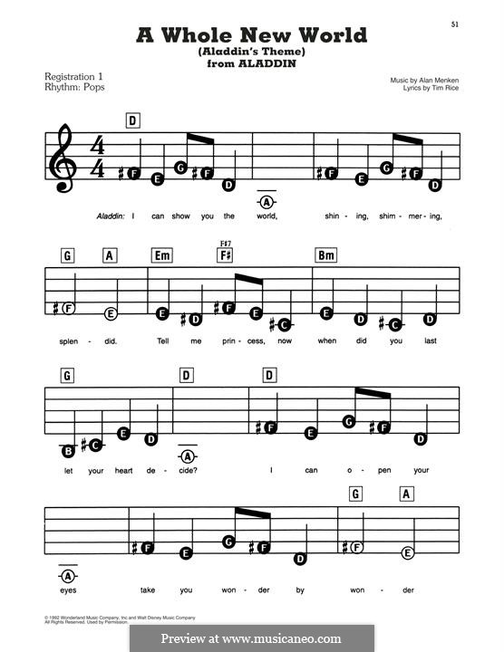 A Whole New World, for Piano (from Aladdin): For a single performer by Alan Menken