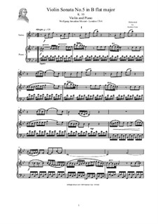 Sonata for Violin (or Flute) and Piano No.1 in B Flat Major, K.10: Score and solo part by Wolfgang Amadeus Mozart