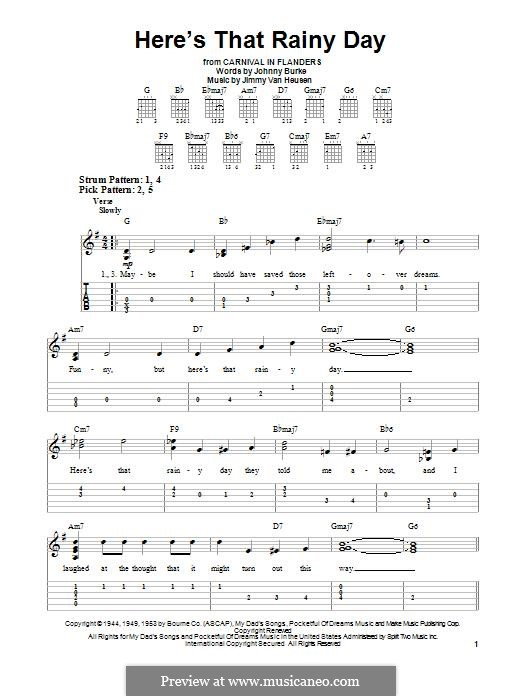 Here's That Rainy Day (Dionne Warwick): For guitar by Jimmy Van Heusen