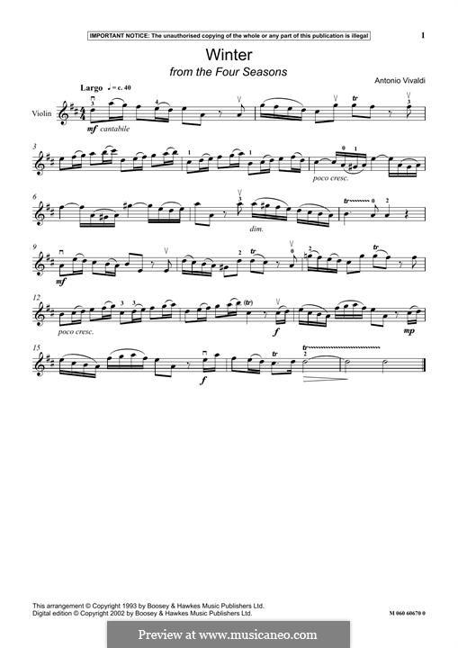 Violin Concerto No.4 in F Minor 'L'inverno', RV 297: Movement III, for violin by Antonio Vivaldi