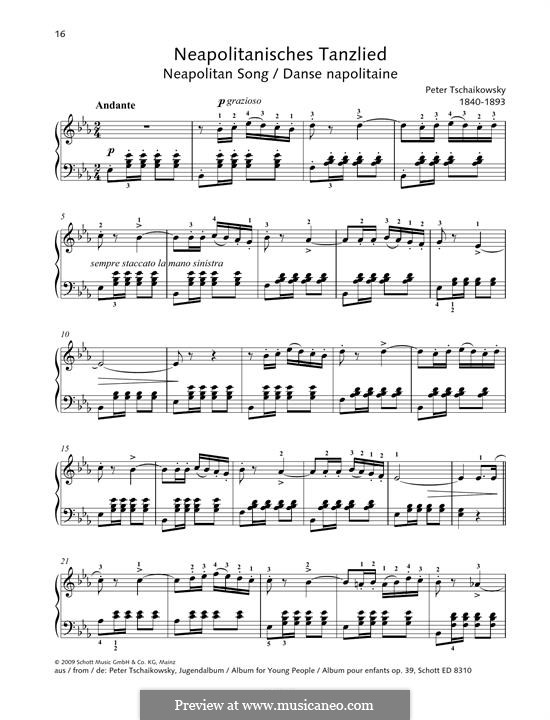 No.18 Neapolitan Song: For piano by Pyotr Tchaikovsky