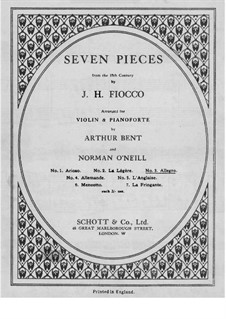 Suite No.1: Allegro, for violin and piano – violin part by Joseph-Hector Fiocco