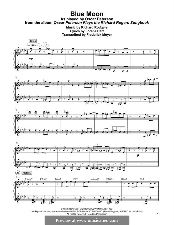 Blue Moon: For easy piano by Richard Rodgers