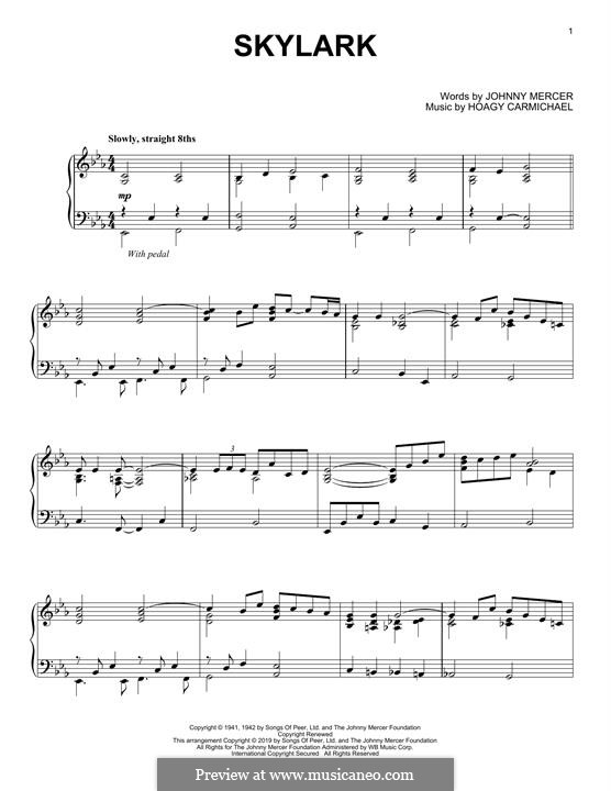 Skylark: For easy piano by Hoagy Carmichael