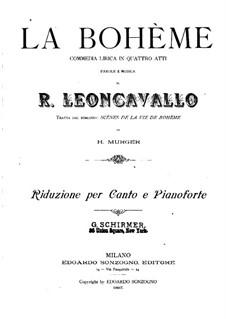 La bohème: Arrangement for soloists, choir and piano by Ruggero Leoncavallo