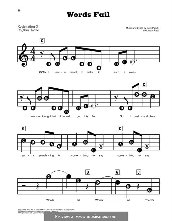 Words Fail (from Dear Evan Hansen): For easy piano by Justin Paul, Benj Pasek