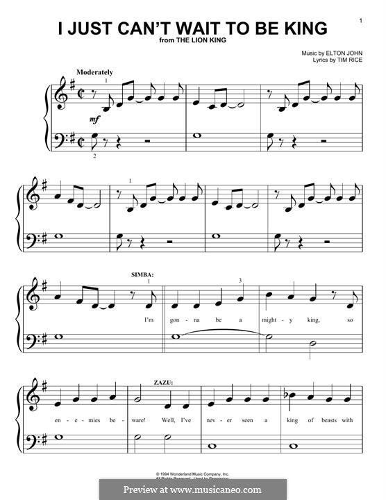 I Just Can't Wait To Be King (from The Lion King): For easy piano by Elton John