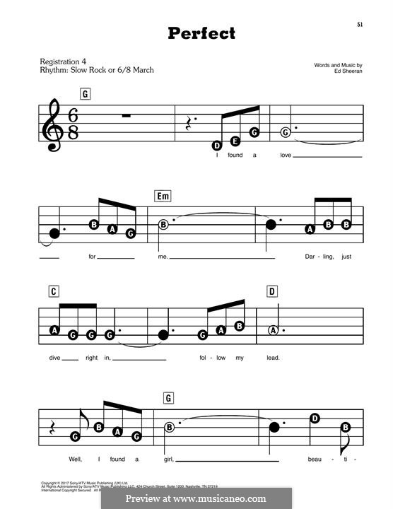 Perfect: For easy piano by Ed Sheeran