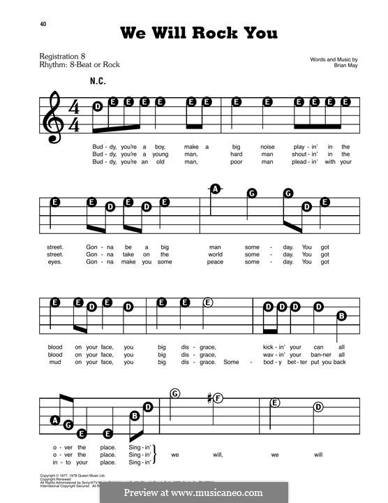 We Will Rock You (Queen): For easy piano by Brian May