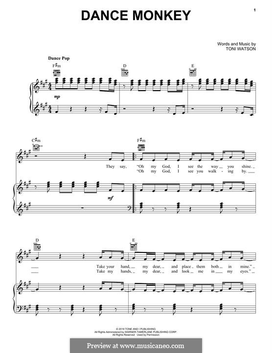 Dance Monkey (Tones And I): For voice and piano (or guitar) by Toni Watson