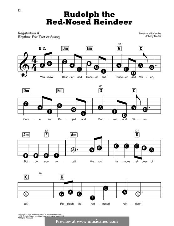 Rudolph the Red-Nosed Reindeer: For easy piano by Johnny Marks