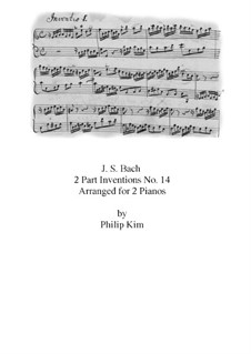 No.14 in B Flat Major, BWV 785: For two pianos four hands by Johann Sebastian Bach
